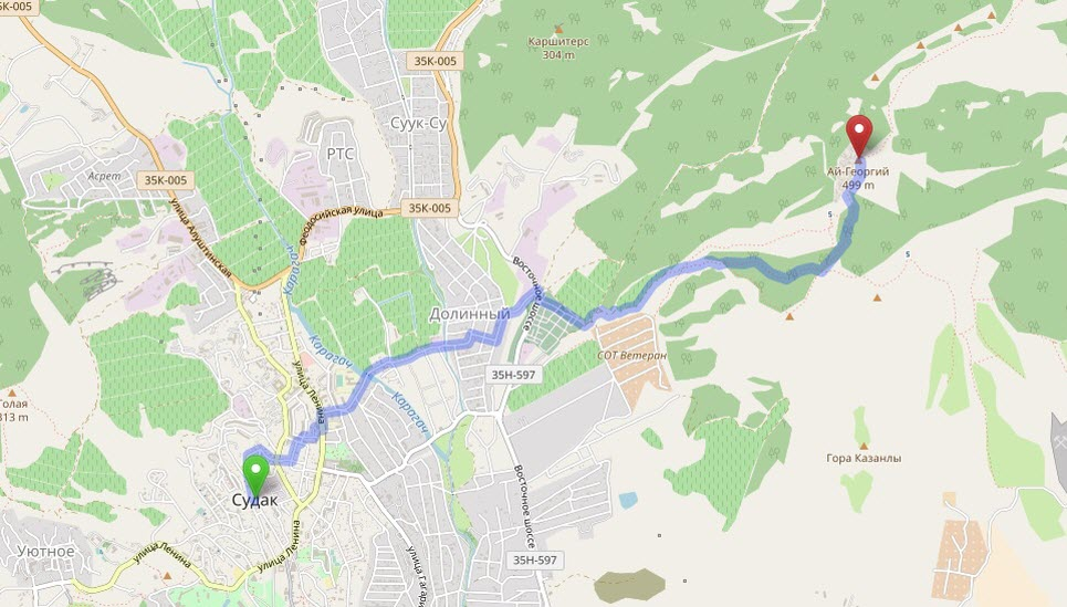 маршрут на гору Ай-Георгий