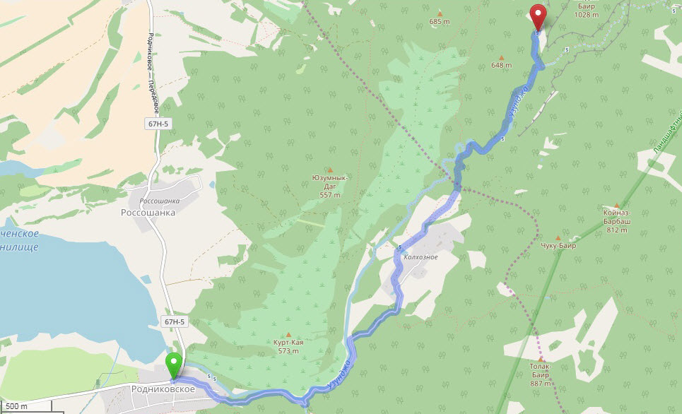 маршрут похода к каньону Узунджи