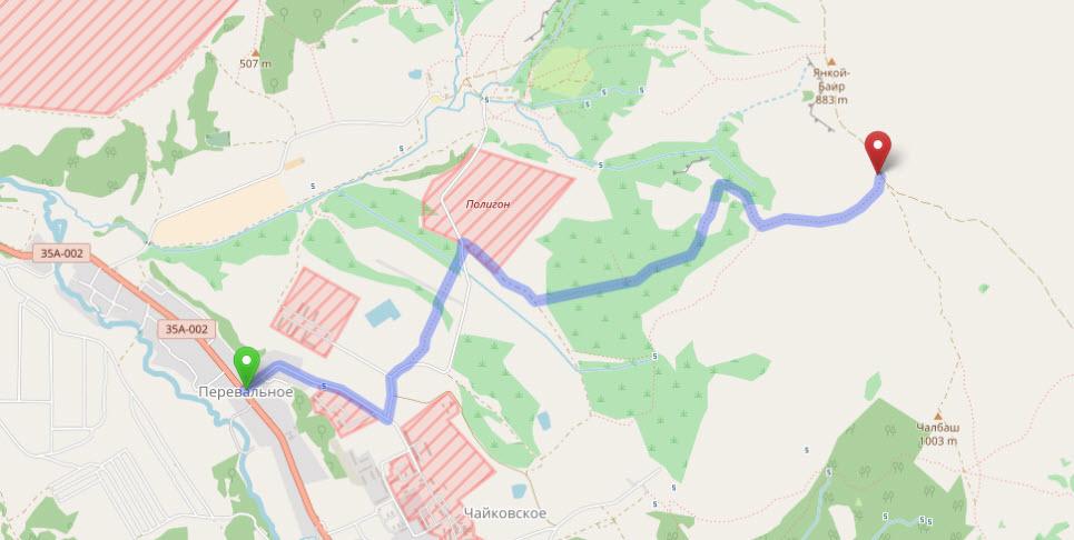 маршрут от Перевального