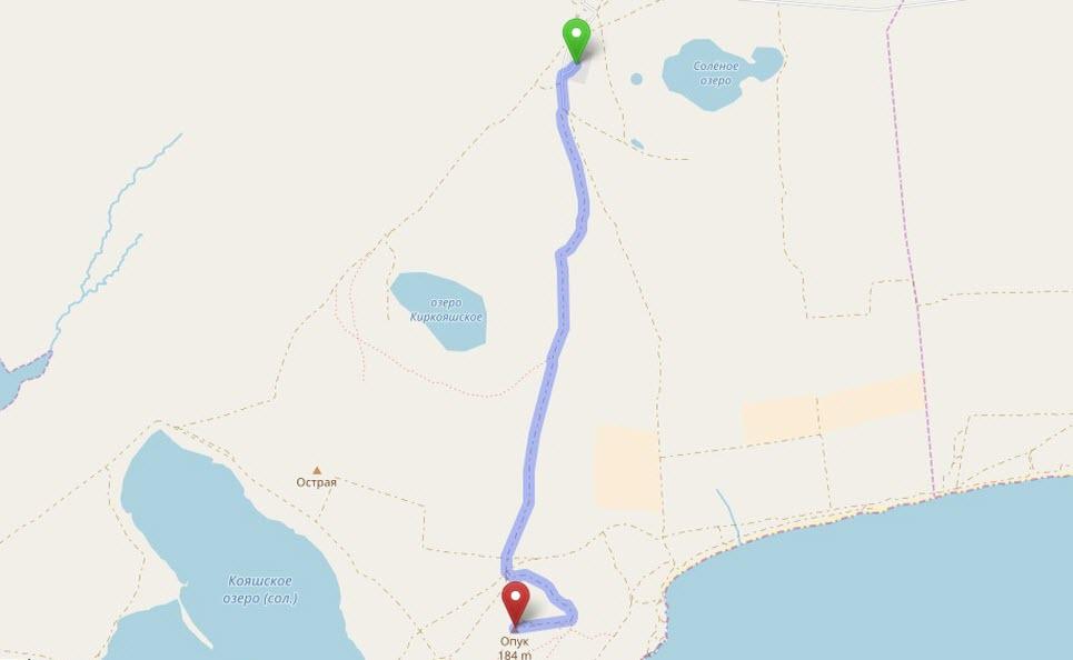 маршрут от с Борисовка до г Опук