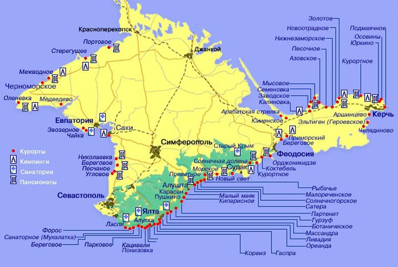 Карта курортов Крыма