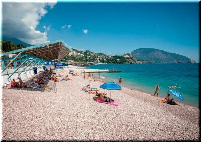 пляжи у набережной Гурзуфа