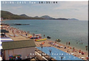 вид с веб-камеры Бригантина на пляж Коктебеля