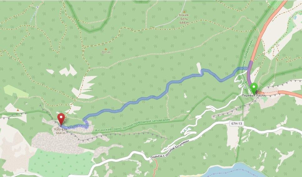 маршрут от перевала Ласпи до горы Куш-Кая на карте