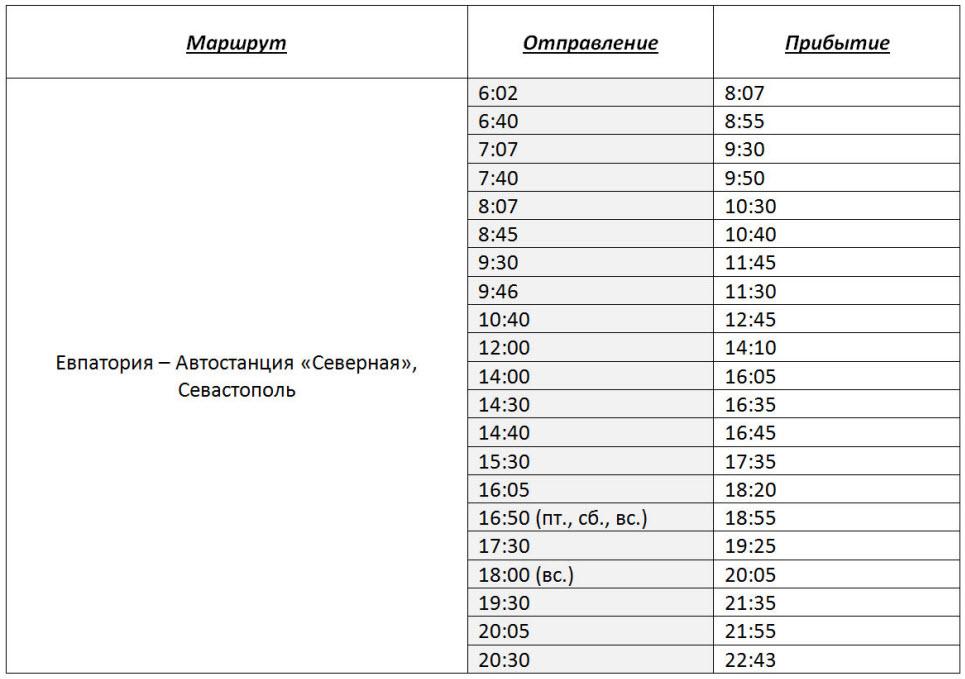 расписание автобусов Евпатория - автостанция Северная (Севастополь) на 2017 год