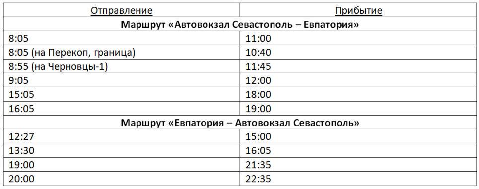 расписание автобусов Севастополь - Евпатория на 2017 год