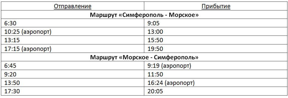 расписание автобусов Симферополь - Морское на 2017 год