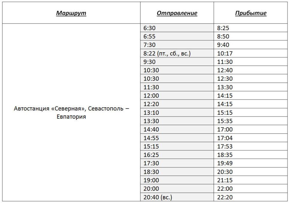 расписание автобусов автостанция Северная (Севастополь) - Евпатория на 2017 год