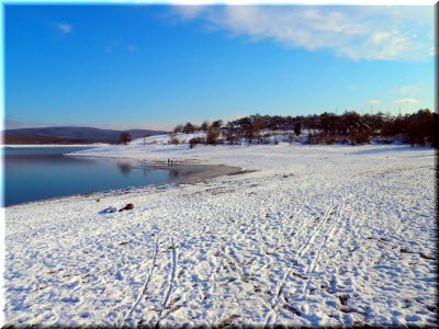 фото водохранилища зимой