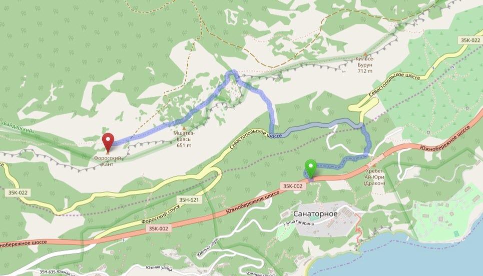 маршрут на Форосский Кант