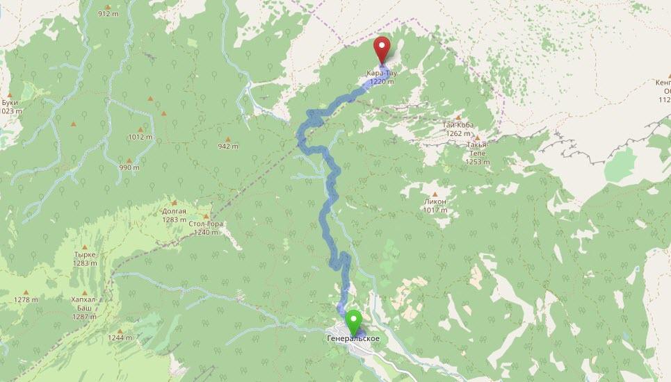 маршрут от Генеральского