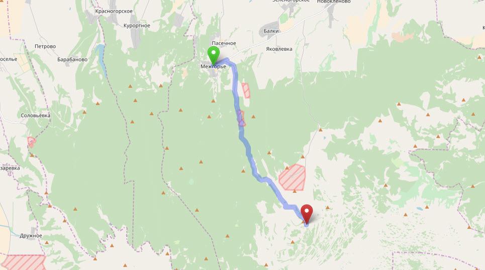 маршрут от Межгорья