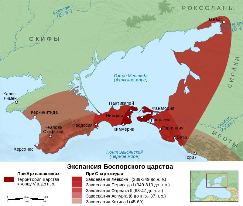 Карта царства Боспор