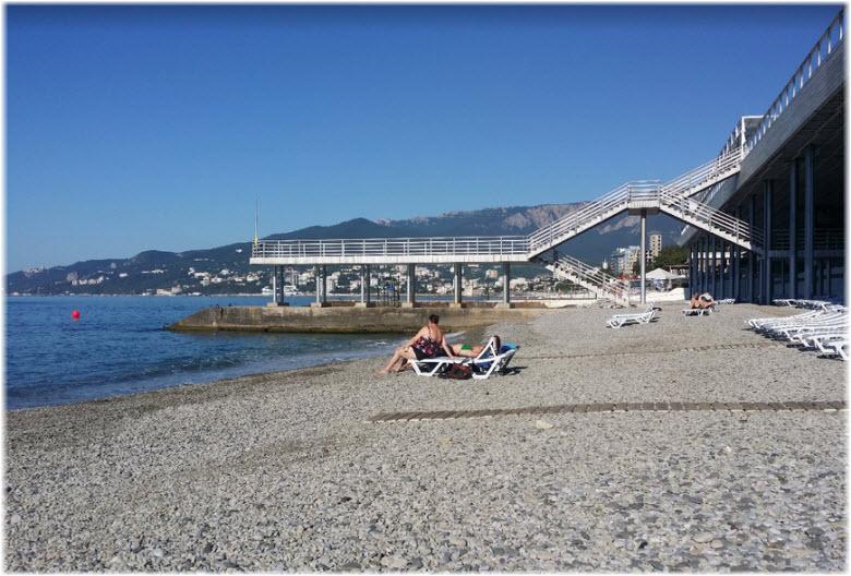 галечный пляж отеля Интурист