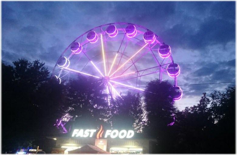 ночная иллюминация колеса