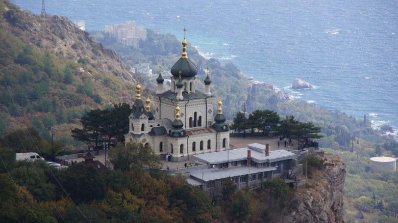 Вид с высоты на храм Воскресения Христова в Форосе